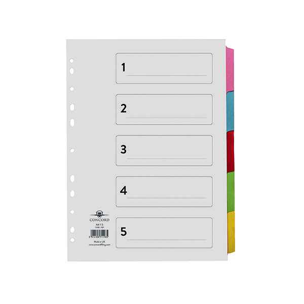 Concord A4 5-Part Printed Index Subject Dividers 71198/PJ11