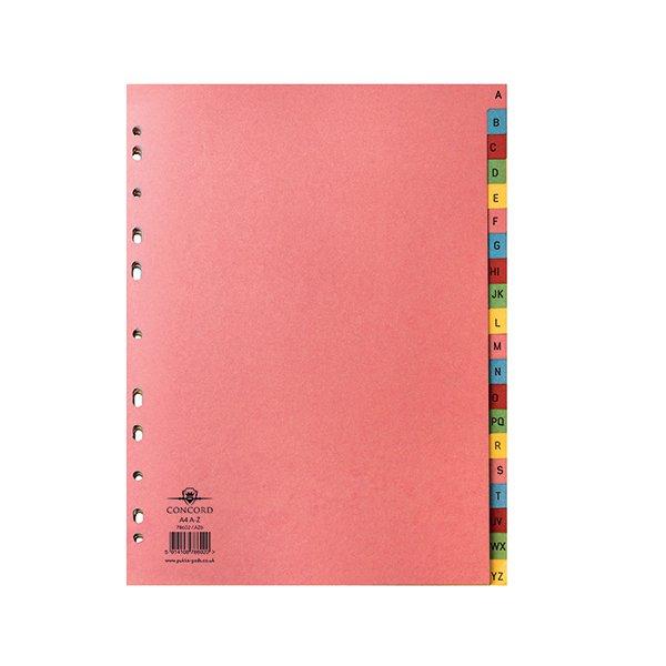 Concord Manilla A4 Index A-Z 20-Part Multi-Colour Tabs 11-Hole 78602/AZ6