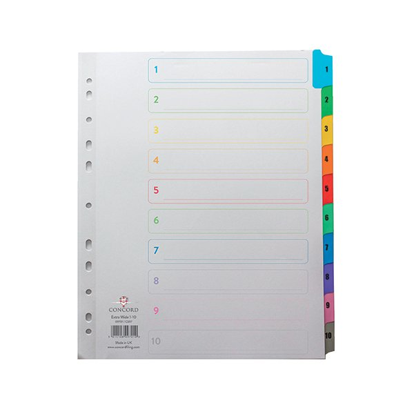 Concord Index 1-10 A4 White With Multi-Colour Tabs 09701/CS97