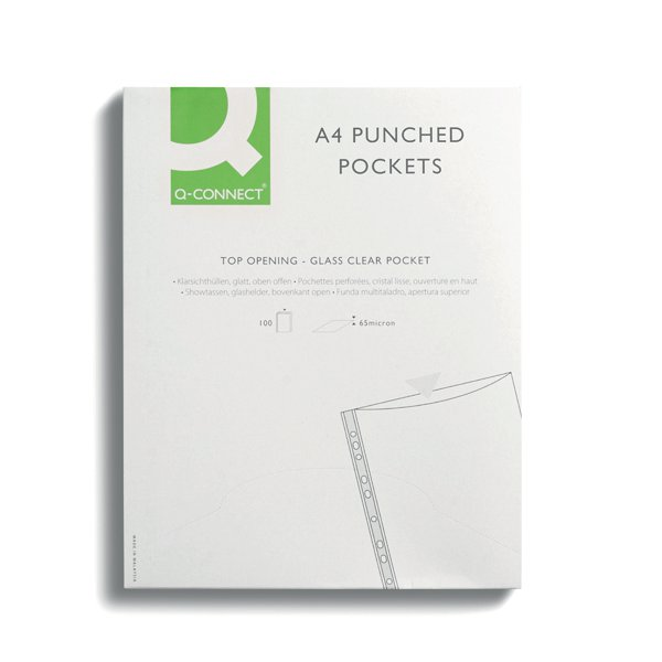 Q-Connect Delux Punched Pocket Top Opening Green Strip A4 Clear (Pack of 100) KF01121