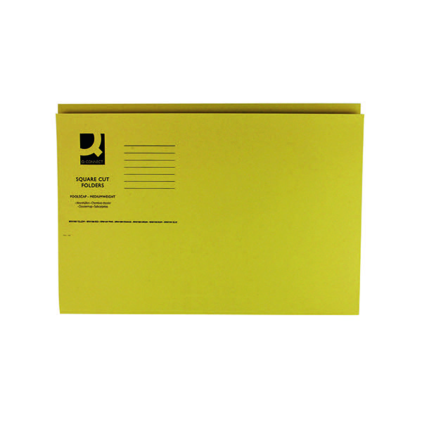 Q-Connect Yellow Square Cut Folder Medium Weight 250gsm Foolscap (Pack of 100) KF01185