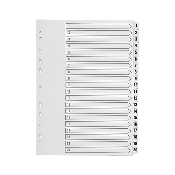 Q-Connect 1-20 Index Multi-punched Polypropylene White A4 KF01356