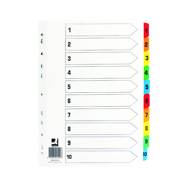 Q-Connect Index A4 Multi-Punched 1-10 Reinforced Multi-Colour Numbered Tabs KF01519