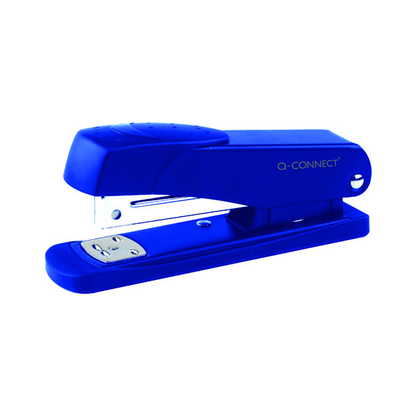 Q-Connect Half Strip Metal Stapler Blue (Staples up to 20 sheets of 80gsm paper) KF02149