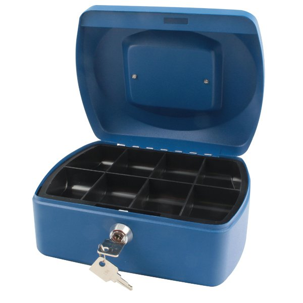 Q-Connect Blue 8 Inch Cash Box KF02623