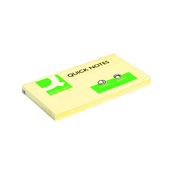 Q Connect Quick Notes 75 x 125mm Yellow