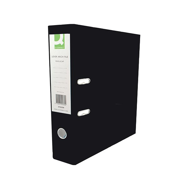 Q-Connect Lever Arch File Foolscap Polypropylene Black KF20025
