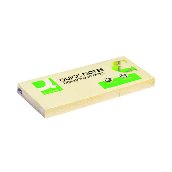 Q-Connect Repositionable Recycled 38 x 51mm Yellow Quick Notes (Pack of 12) KF22367