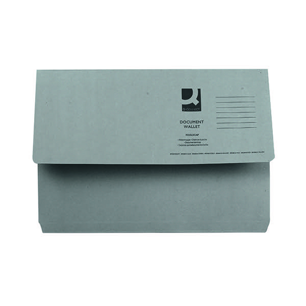 Q-Connect Foolscap Grey Document Wallet (Pack of 50) KF23013