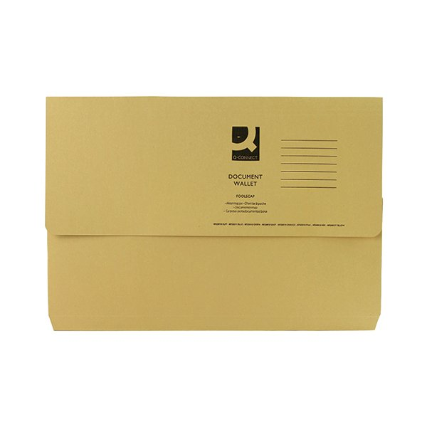 Q-Connect Foolscap Yellow Document Wallet Pack of 50 KF23017