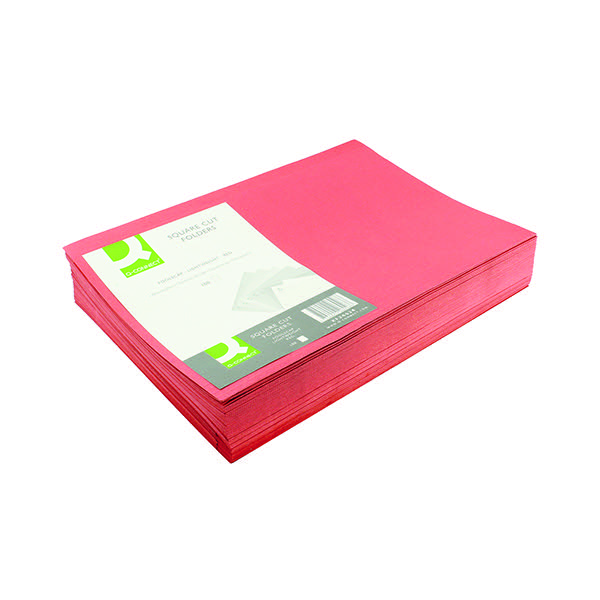Q-Connect Red Square Cut Folder Lightweight 180gsm Foolscap (Pack of 100) KF26028