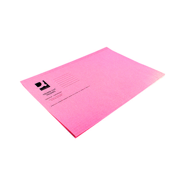 Q-Connect Pink Square Cut Folder Lightweight 180gsm Foolscap (Pack of 100) KF26029