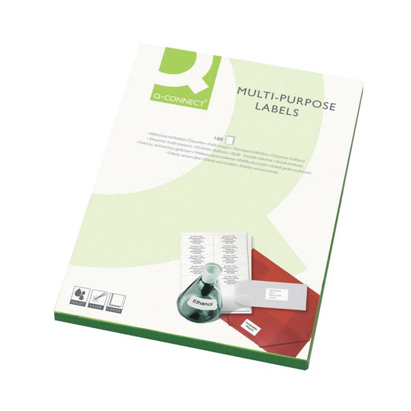 Q-Connect White Multipurpose Label 99.1 x 34mm 16 Per Sheet (Pack of 1600) KF26053