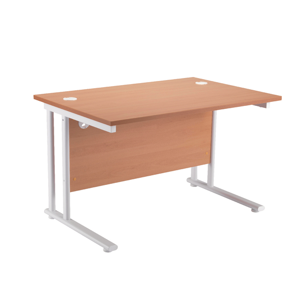 First Rectangular Cantilever Desk 1200mm Beech with White Leg KF838897