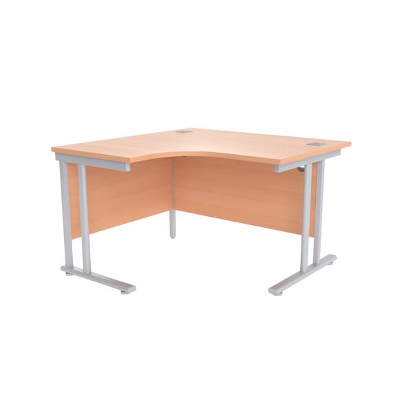 Jemini Beech/Silver 1200mm Left Hand Radial Cantilever Desk KF839611