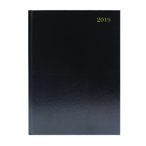 A4 Day/Page 2019 Black Desk Diary KFA41BK19