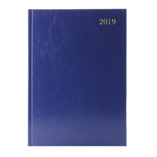Blue A5 Week/View 2019 Desk Diary