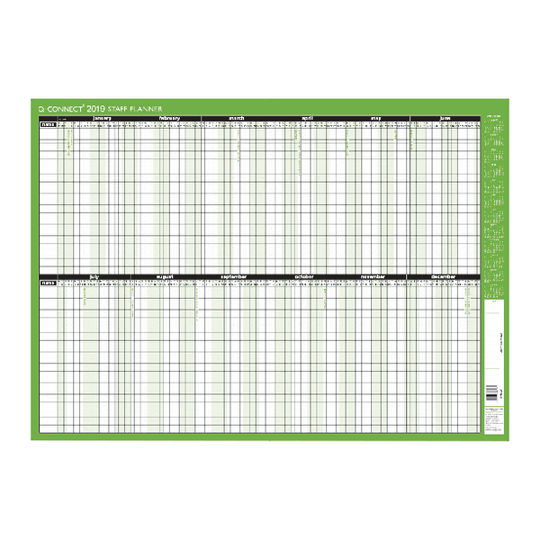 Q-Connect Staff Planner Unmounted 855x610mm 2019 KFSPU19
