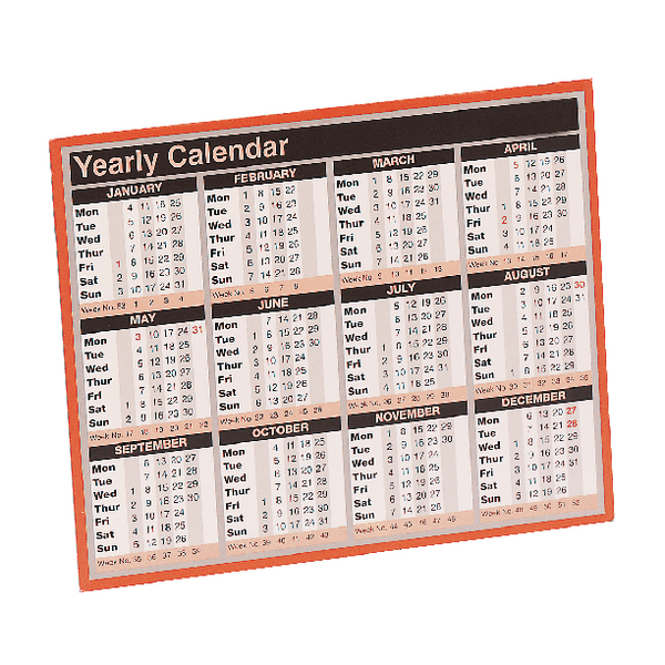 Year To View Calendar 257x210mm 2019