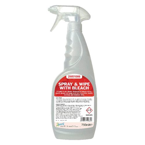 2Work Spray and Wipe with Bleach 750ml