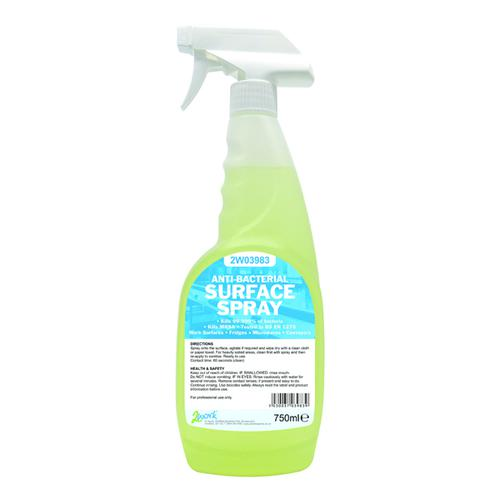Image for 2Work Antibacterial Sanitising Surface Spray 750ml Ready-to-Use 242