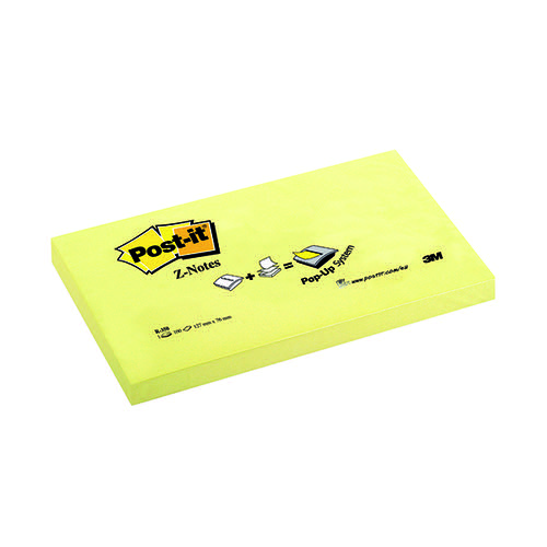 Post-it Z Notes 76x127mm Canary Yellow (Pack of 12) R350Y