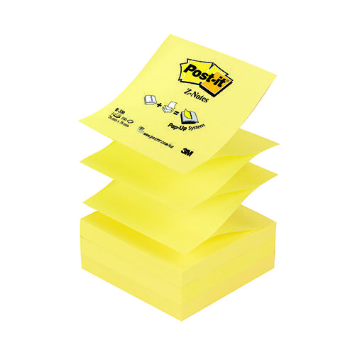 Post-it Z-Notes 76 x 76mm Canary Yellow (Pack of 12) R330