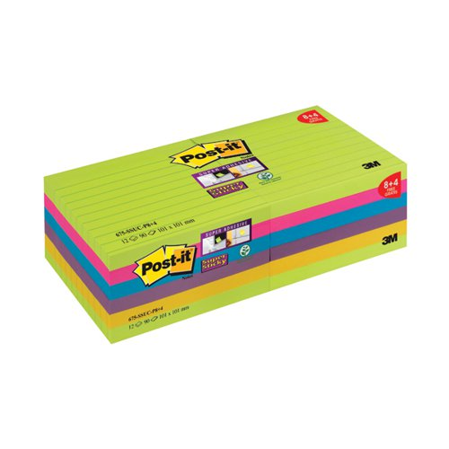 Post-it Super Sticky 101x101mm Ultra (Pack of 12) 675-SSUC-P8+4