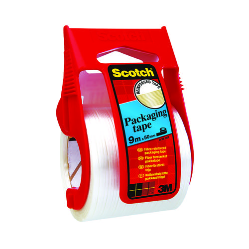 Scotch Reinforced Packaging Tape 50mmx9m With Easy Start Dispenser Clear X.5009D