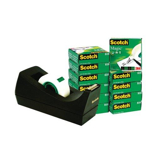 Scotch Magic Tape 810 19mm x 33m (Pack of 12) with Free Dispenser SM12