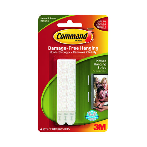 3M Command Narrow Picture Hanging Strips White (Pack of 4) 17207