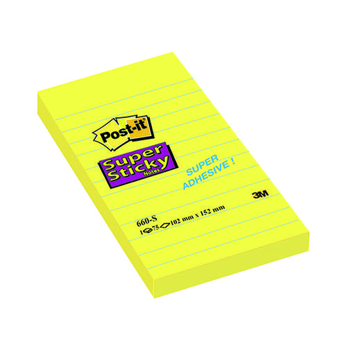 Post-it Super Sticky 152 x 102mm Lined Ultra Yellow (Pack of 6) 660S