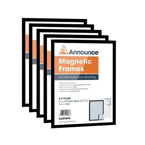 Announce Magnetic Frame A4 Black (Pack of 5) AA01847