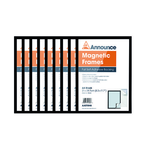 Announce Magnetic Frame A4 Black (Pack of 10) AA01848