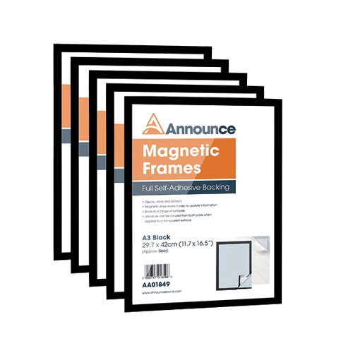 Announce Magnetic Frame A3 Black (Pack of 5) AA01850