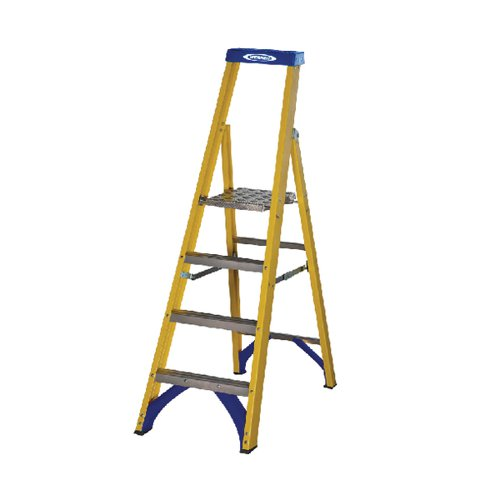 Abru Fibreglass Platform Stepladder 4 Tread Yellow 71704