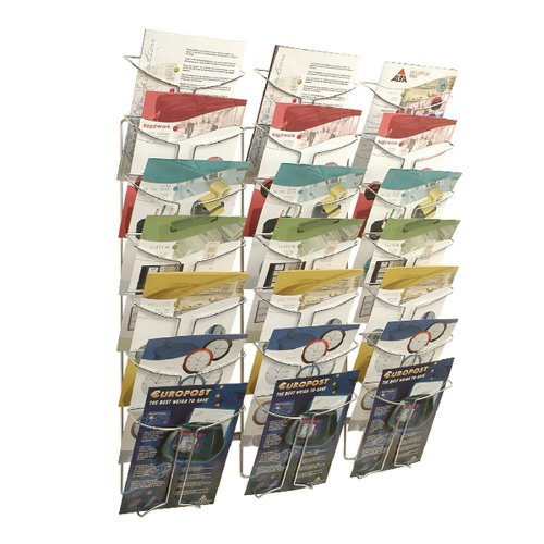 Alba Wall Mounted 21 Pocket Literature Holder A4 Chrome DDFIL21M