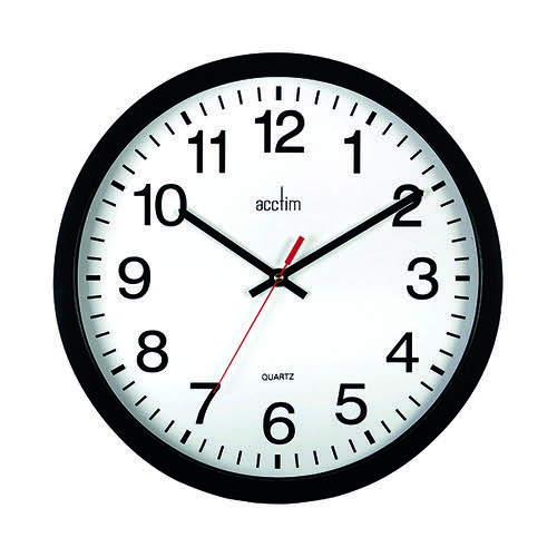 Acctim Controller Silent Sweep Wall Clock 368mm Black 93/704B