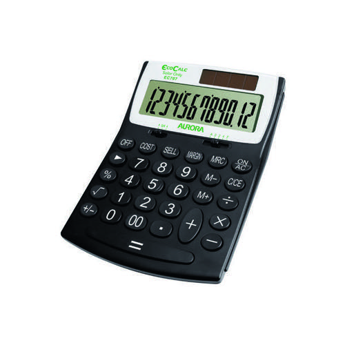 Aurora Black /White 12-Digit Desk Calculator EC707