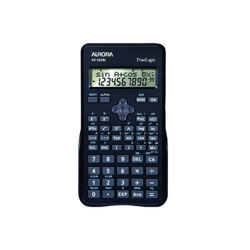 Aurora Black 2-Line Scientific Calculator (2 line display shows both sum and answer) AX582BL