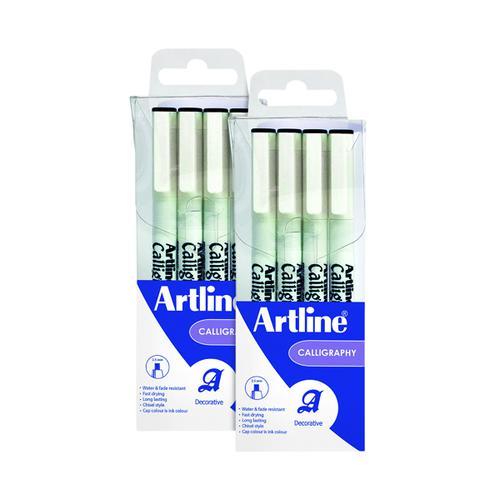 Artline Calligraphy Pen Set Assorted Width Black (Pack of 4) 2For1