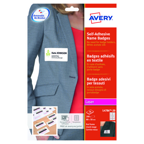Avery Self Adhesive Name Badge 10TV White/Red Border L4786-20