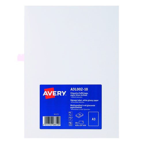 Avery A3L002-10 Premium Display Labels A3 Removable PK10