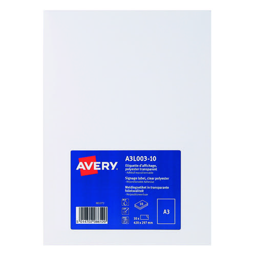 Avery Display Labels A3 Clear (Pack of 10) A3L003-10