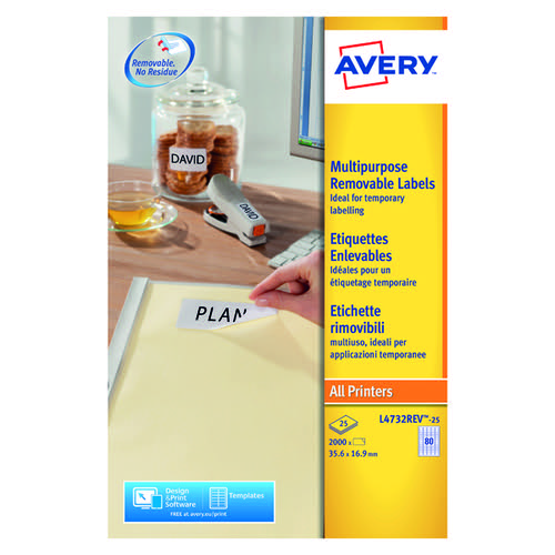 Avery L4732REV-25 Removable Labels Pk25