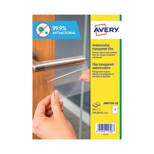 Avery Permanent A4 Antimicrobial Film Labels (Pack of 20) AMOP2A4-10