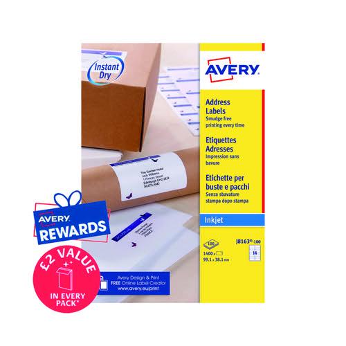 Avery Inkjet Address Labels 14 Per Sheet Wht (Pack of 1400) J8163-100