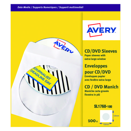Avery Paper CD/DVD Sleeve XL Window P100