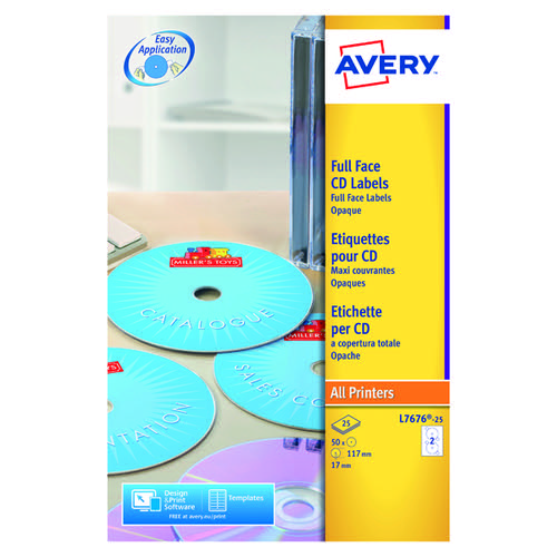 Avery CD DVD Laser Labels Face P25 L7676