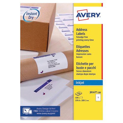 Avery QuickDRY J8167-100 Inkjet Labels